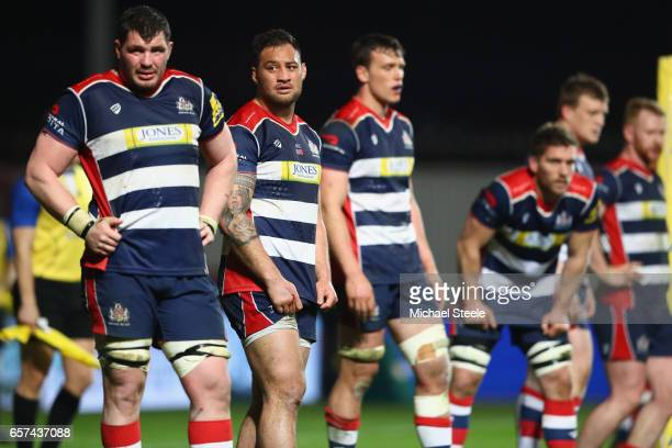 James Phillips and Jack Lam of Bristol look on after conceding the third try during the Aviva Premiership match between Bristol Rugby and Gloucester...