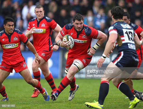 James Phillips of Bristol Rugby goes on a charge during the Greene King IPA Championship Play Off Final match First Leg between Doncaster Knights and...
