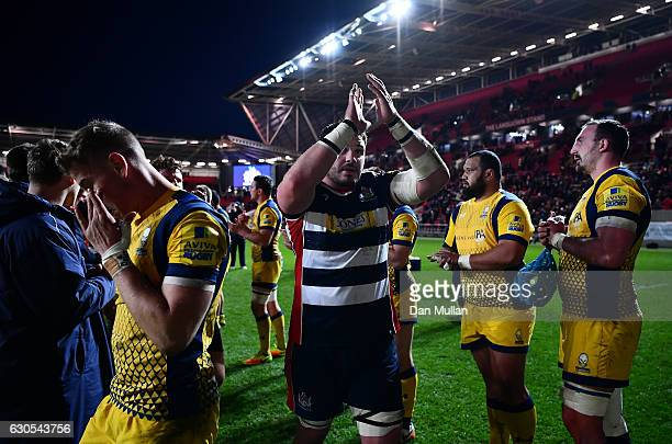 James Phillips of Bristol Rugby thanks the fans as he leaves the field following his side's victory during the Aviva Premiership match between...
