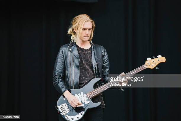 James Phillips of Judas perform on the main stage during day 2 at Leeds Festival at Bramhall Park on August 26, 2017 in Leeds, England.