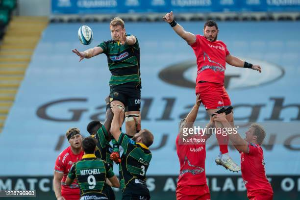 James Phillips of Sale Sharks and David Ribbans of Northampton Saints during the Gallagher Premiership match between Northampton Saints and Sale...