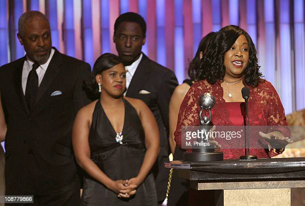 James Pickens Jr Chandra Wilson Isaiah Washington presenter and Shonda Rhimes accept the award for Outstanding Drama Series for 'Grey's Anatomy'