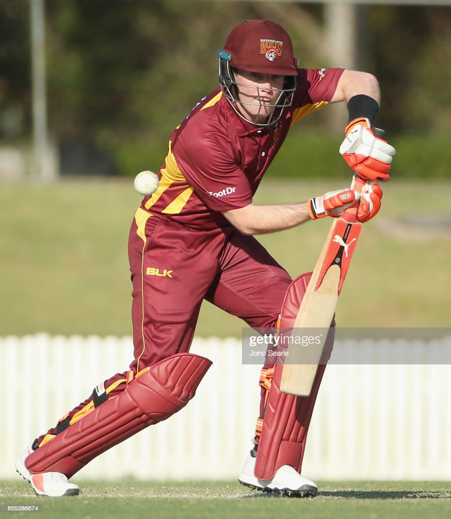 James Pierson of QLD plays a shot during the JLT One Day Cup match between Queensland and the Cricket Australia XI at Allan Border Field on September 29, 2017 in Brisbane, Australia.