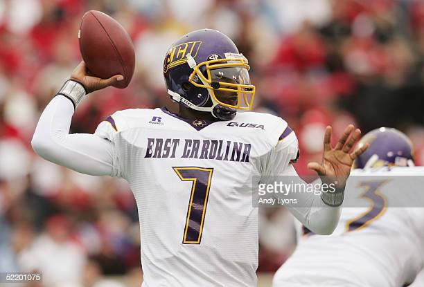 James Pinkney of the East Carolina Pirates sets to pass during the game against the Louisville Cardinals at Papa John's Stadium on October 2 2004 in...