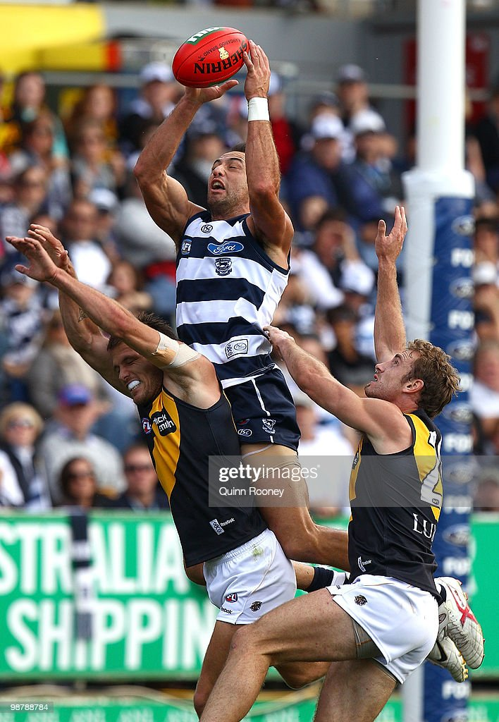 James Podsiadly of the Cats attempts to mark during the round six AFL match between the Geelong Cats and the Richmond Tigers at Skilled Stadium on May 2, 2010 in Melbourne, Australia.