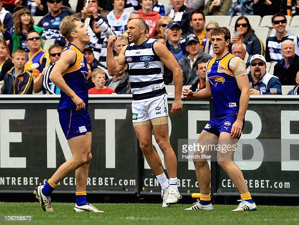 James Podsiadly of the Cats celebrates a goal during the second preliminary final match between the Geelong Cats and the West Coast Eagles at...