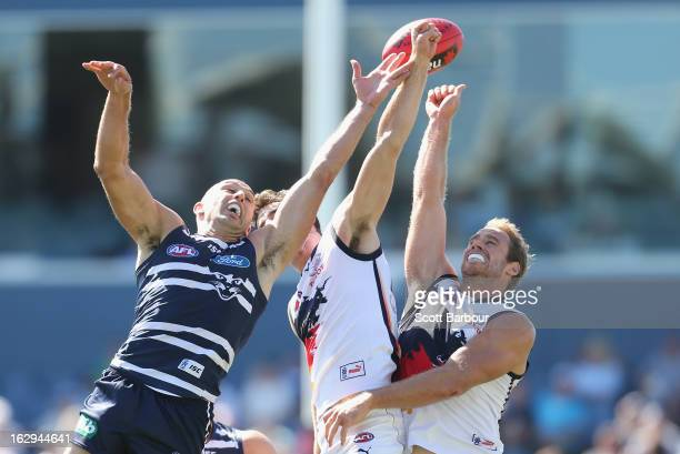 James Podsiadly of the Cats competes for the ball during the round two AFL NAB Cup match between the Geelong Cats and the Adelaide Crows at Simonds...
