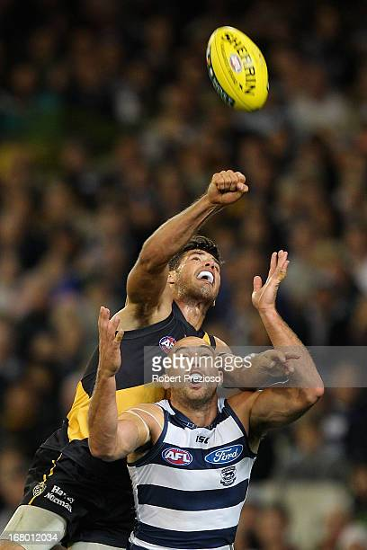 James Podsiadly of the Cats flies for a mark during the round six AFL match between the Richmond Tigers and the Geelong Cats at Melbourne Cricket...