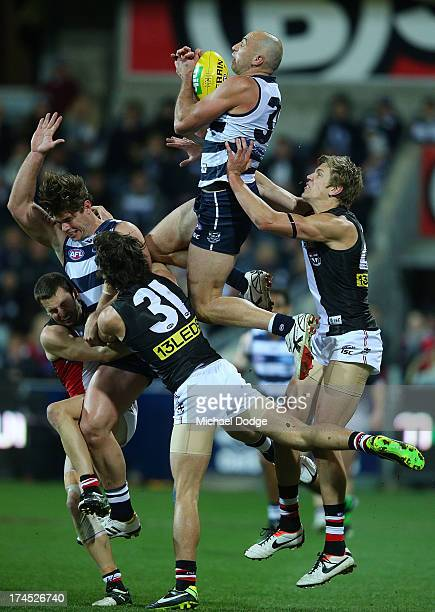 James Podsiadly of the Cats takes a high mark during the round 18 AFL match between the Geelong Cats and the St Kilda Saints at Simonds Stadium on...