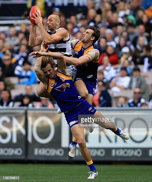 James Podsiadly of the Cats takes a strong mark during the second preliminary final match between the Geelong Cats and the West Coast Eagles at...
