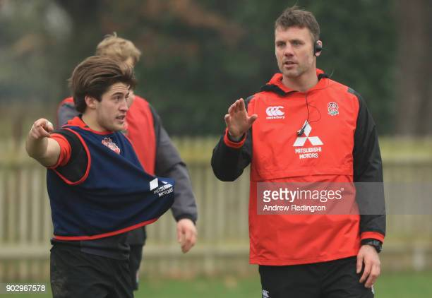 James Ponton coach is pictured with Rory Brand during England U20 Media Access at Bisham Abbey on January 9 2018 in Marlow England