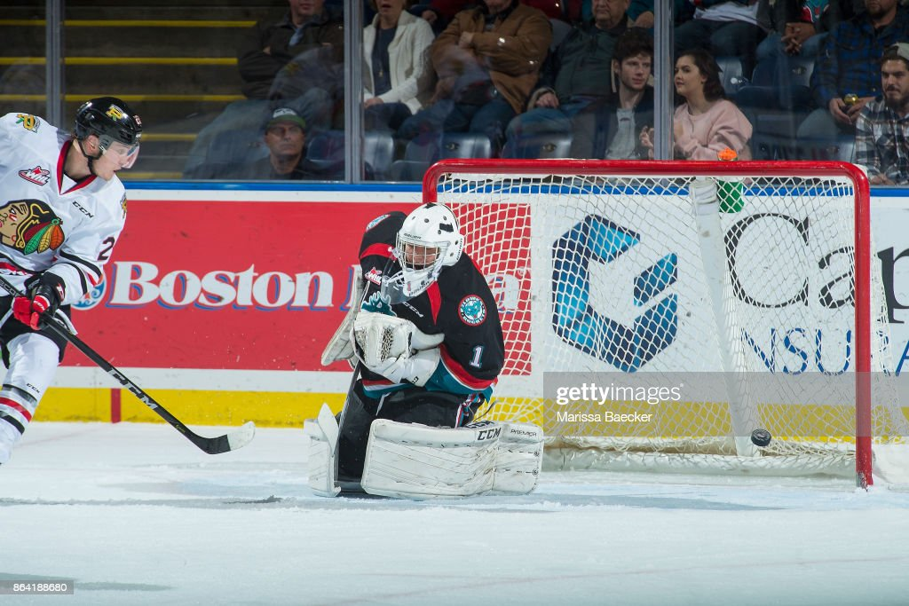 James Porter #1 of the Kelowna Rockets misses a save during third period against the Portland Winterhawks at Prospera Place on October 20, 2017 in Kelowna, Canada.