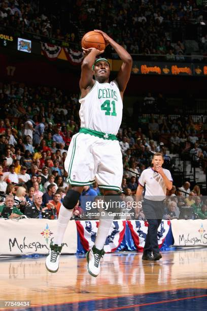 James Posey of the Boston Celtics shoots during the game against the Philadelphia 76ers on October 20 2007 at Mohegan Sun Arena in Uncasville...