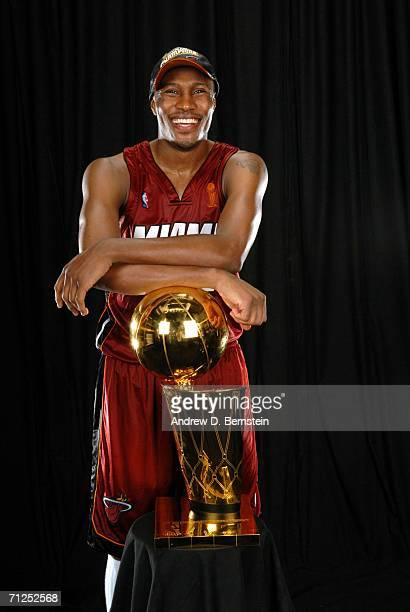 James Posey of the Miami Heat poses for a portrait with the Larry O'Brien Championship trophy after their Game Six victory of the 2006 NBA Finals...