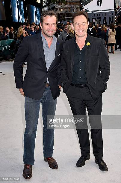 "James Purefoy and Jason Isaacs attend the European premiere of ""The Legend Of Tarzan"" at Odeon Leicester Square on July 5, 2016 in London, England."