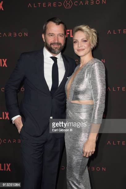 "James Purefoy and Kristin Lehman attends the Premiere Of Netflix's ""Altered Carbon"" at Mack Sennett Studios on February 1, 2018 in Los Angeles,..."