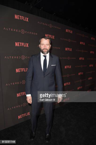"James Purefoy attends the Premiere Of Netflix's ""Altered Carbon"" at Mack Sennett Studios on February 1, 2018 in Los Angeles, California."