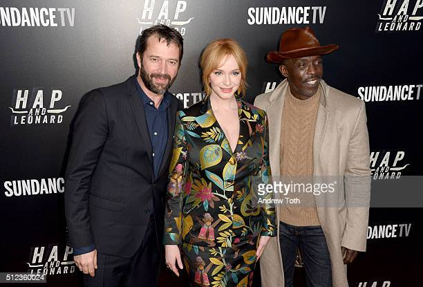 James Purefoy Christina Hendricks and Michael K Williams attend 'Hap and Leonard' Private Premiere Party at Hill Country BBQ on February 25 2016 in...