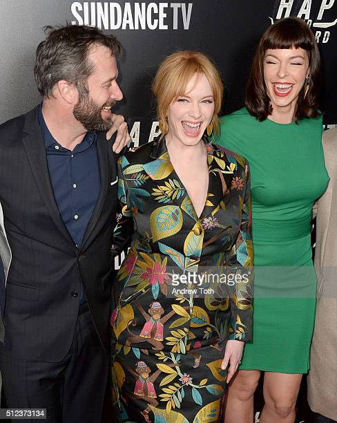 James Purefoy Christina Hendricks and Pollyanna McIntosh attend Hap and Leonard private premiere party at Hill Country BBQ on February 25 2016 in New...