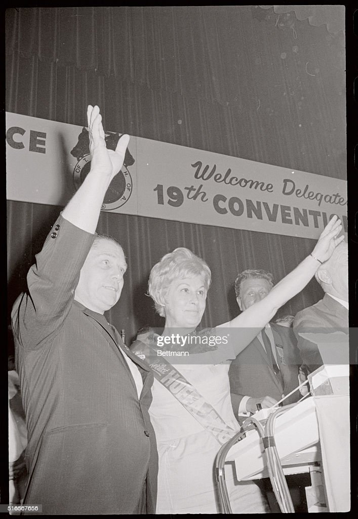 Jimmy Hoffa and His Wife Josephine Waving : News Photo