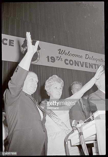 James R Hoffa and his wife Josephine wave to teamster delegates after they elected him for a new five year term as General President of the...