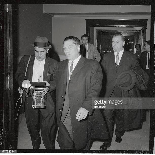 James R Hoffa president of Teamsters Union with his attorney Richard E Gorman in US Courthouse after posting $10000 bond on an indictment charging...