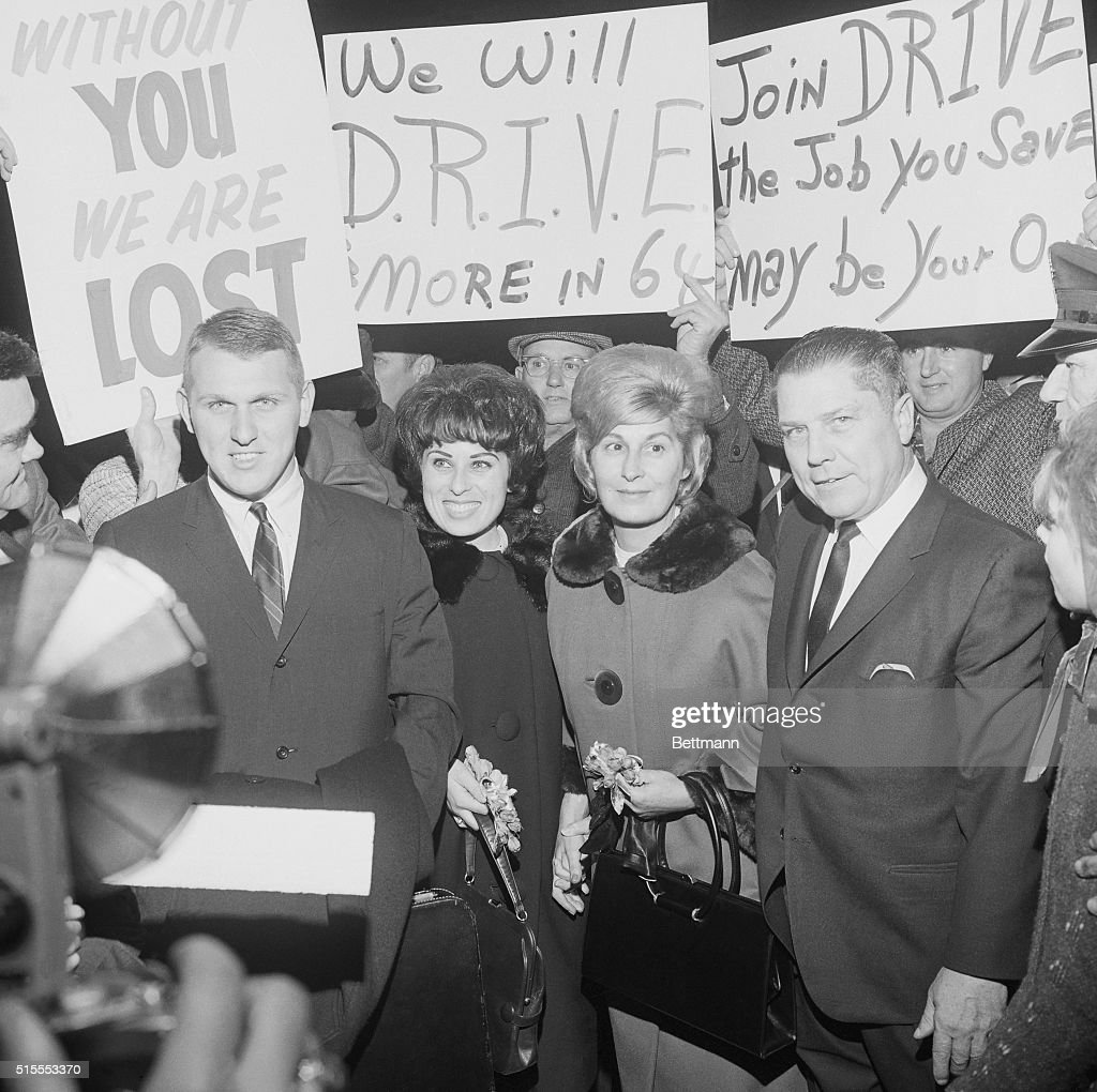 Supporters Greeting Jimmy Hoffa and His Family : News Photo