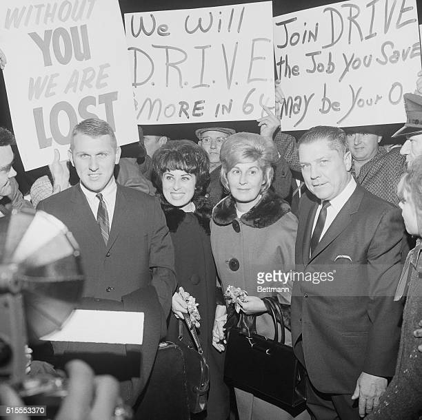 James R Hoffa Teamsters Union boss was greeted by many local Union members wishing him good luck as he arrived here January 19 for a trial on charges...