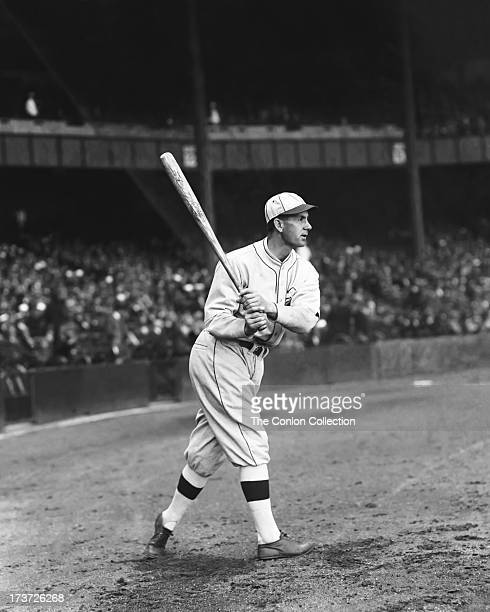 James R Poole of the Philadelphia Athletics swinging a bat in 1927