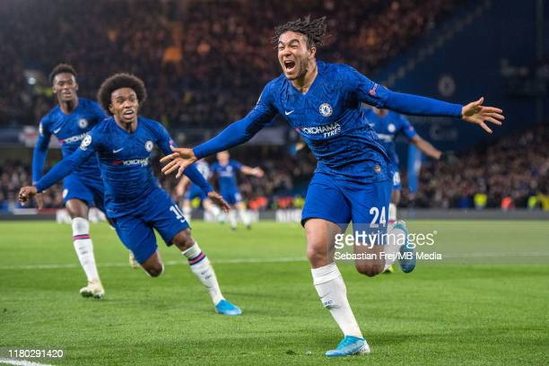 James Reece of Chelsea FC celebrate after scoring goal during the UEFA Champions League group H match between Chelsea FC and AFC Ajax at Stamford...
