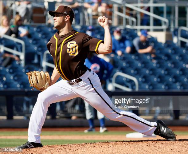 James Reeves of the San Diego Padres pitches against the Chicago Cubs during the MLB spring training game at Peoria Sports Complex on March 01, 2021...