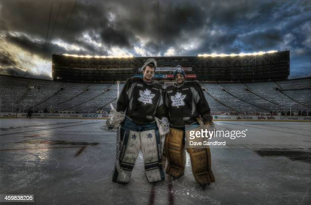 James Reimer and Jonathan Bernier both of the Toronto Maple Leafs pose for a photo following practice during the 2014 Bridgestone NHL Winter Classic...