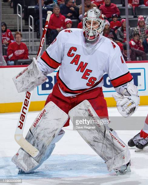 James Reimer of the Carolina Hurricanes follows the play against the Detroit Red Wings during an NHL game at Little Caesars Arena on November 24 2019...