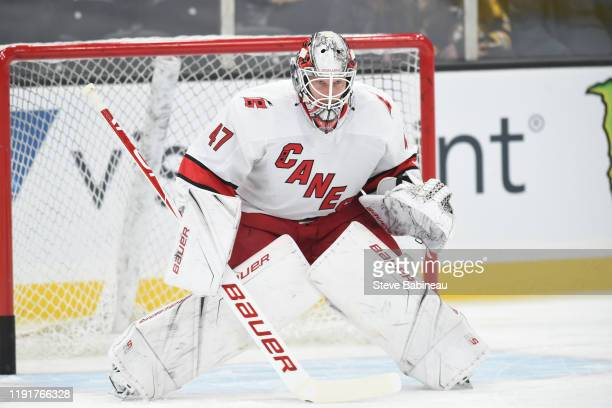 James Reimer of the Carolina Hurricanes warms up before the game against the Boston Bruins at the TD Garden on December 3 2019 in Boston Massachusetts