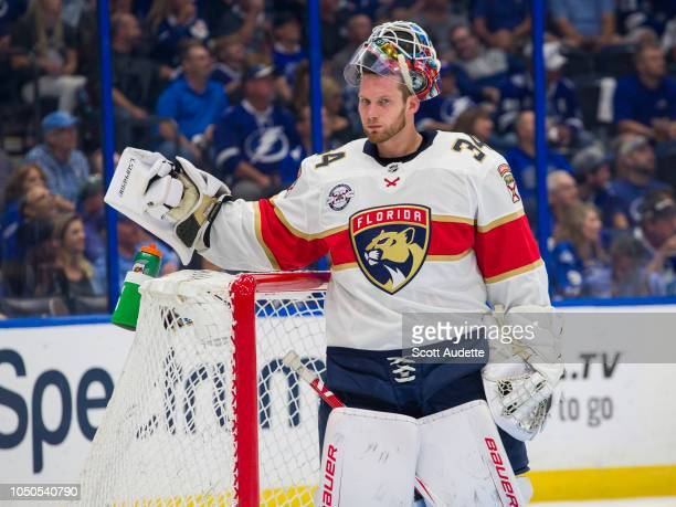 James Reimer of the Florida Panthers against the Tampa Bay Lightning at Amalie Arena on October 6 2018 in Tampa Florida n