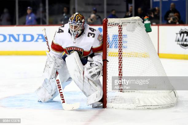 James Reimer of the Florida Panthers defends the goal against the New York Islanders in the second period during their game at Barclays Center on...