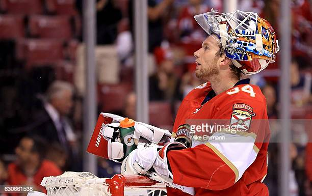 James Reimer of the Florida Panthers looks on during a game against the Montreal Canadiens at BBT Center on December 29 2016 in Sunrise Florida