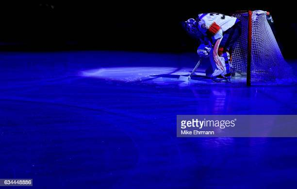 James Reimer of the Florida Panthers looks on during a game against the Los Angeles Kings at BBT Center on February 9 2017 in Sunrise Florida