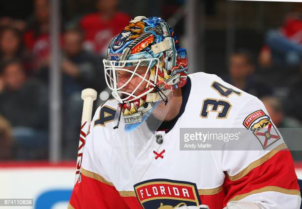 James Reimer of the Florida Panthers looks on during the game against the New Jersey Devils at Prudential Center on November 11 2017 in Newark New...