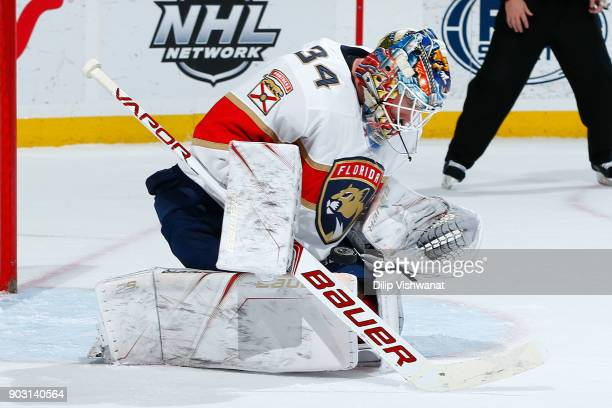 James Reimer of the Florida Panthers makes a save against the St Louis Blues at Scottrade Center on January 9 2018 in St Louis Missouri