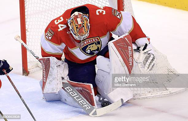 James Reimer of the Florida Panthers makes a save during a game against the Montreal Canadiens at BBT Center on December 29 2016 in Sunrise Florida