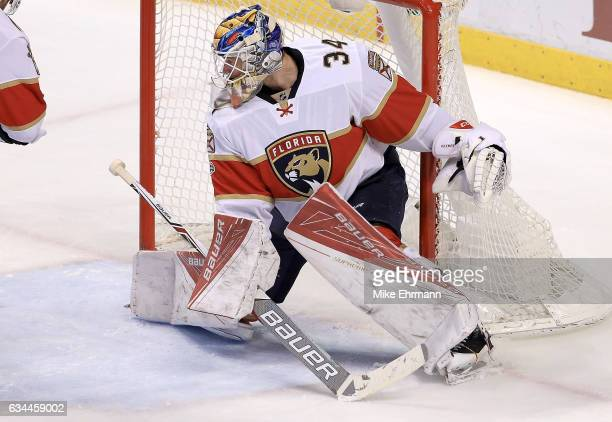James Reimer of the Florida Panthers makes a save during a game against the Los Angeles Kings at BBT Center on February 9 2017 in Sunrise Florida