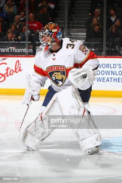 James Reimer of the Florida Panthers skates against the New York Islanders at Barclays Center on March 26 2018 in New York City Florida Panthers...