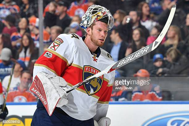 James Reimer of the Florida Panthers skates back to his net during the game against the Edmonton Oilers on January 18 2017 at Rogers Place in...
