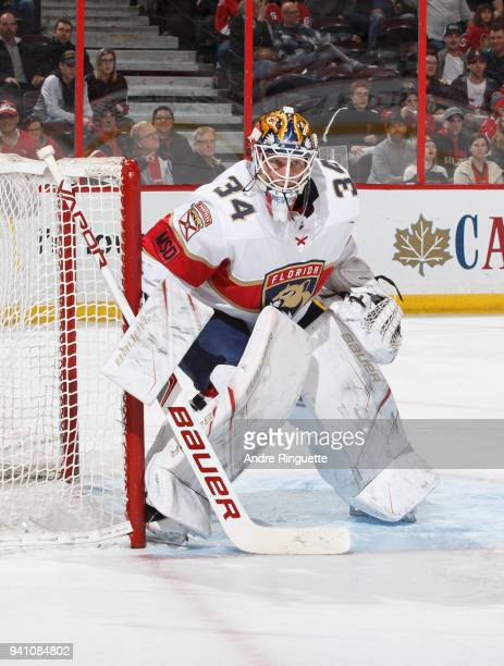 James Reimer of the Florida Panthers tends net against the Ottawa Senators at Canadian Tire Centre on March 29 2018 in Ottawa Ontario Canada