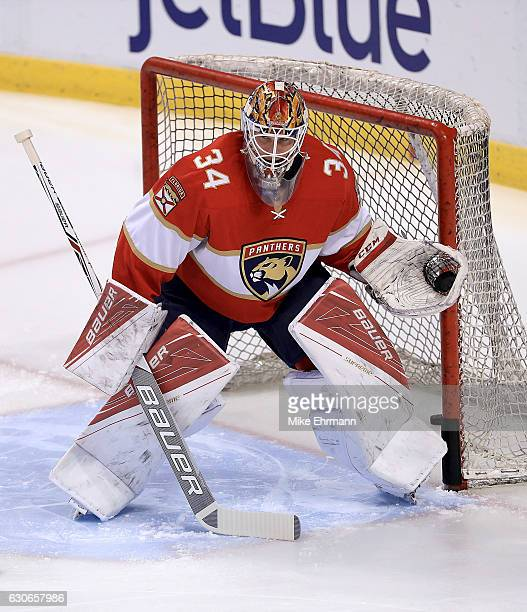 James Reimer of the Florida Panthers warms up during a game against the Montreal Canadiens at BBT Center on December 29 2016 in Sunrise Florida