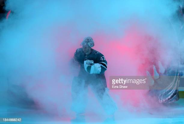 James Reimer of the San Jose Sharks skates onto the ice for their game against the Anaheim Ducks at SAP Center on October 04, 2021 in San Jose,...