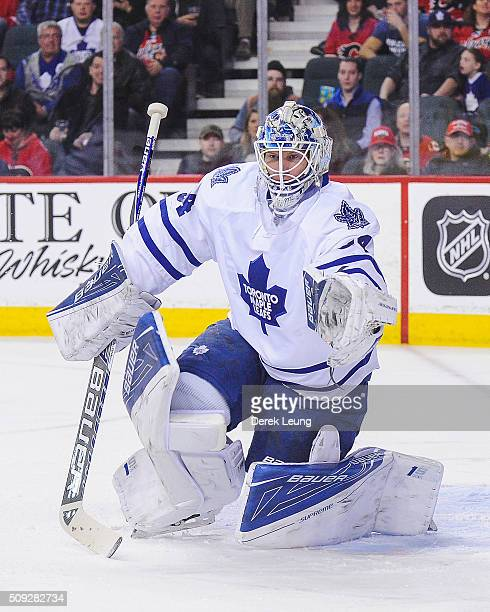 James Reimer of the Toronto Maple Leafs in action against the Calgary Flames during an NHL game at Scotiabank Saddledome on February 9 2016 in...