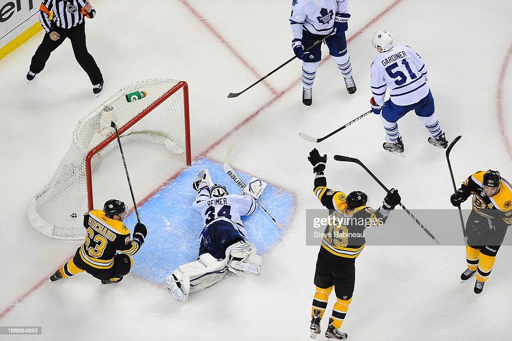 James Reimer #34 of the Toronto Maple Leafs lays on the ice after letting in a goal in overtime against the Boston Bruins in Game Seven of the Eastern Conference Quarterfinals during the 2013 NHL Stanley Cup Playoffs at TD Garden on May 13, 2013 in Boston, Massachusetts.