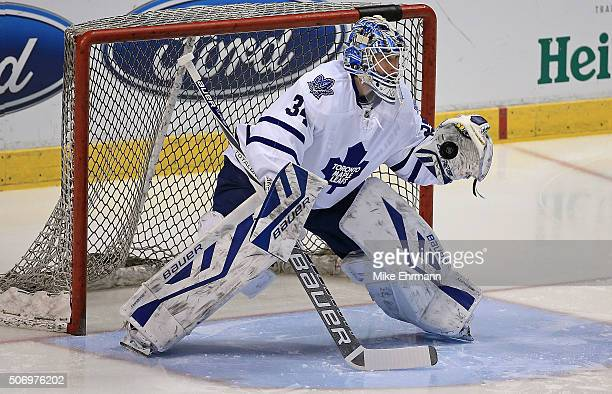 James Reimer of the Toronto Maple Leafs warms up during a game against the Florida Panthers at BBT Center on January 26 2016 in Sunrise Florida